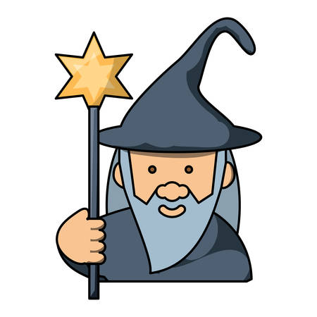 cartoon wizard holding a magic wand  over white background, colorful design. vector illustration