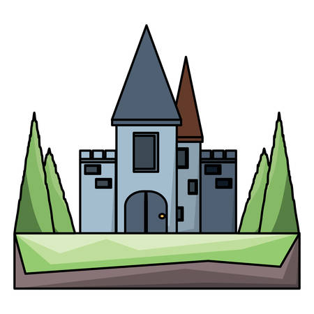 medieval Castle Surrounded by Nature icon over white background, colorful design. vector illustration