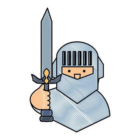 cartoon knight holding a sword over white background, colorful design. vector illustration