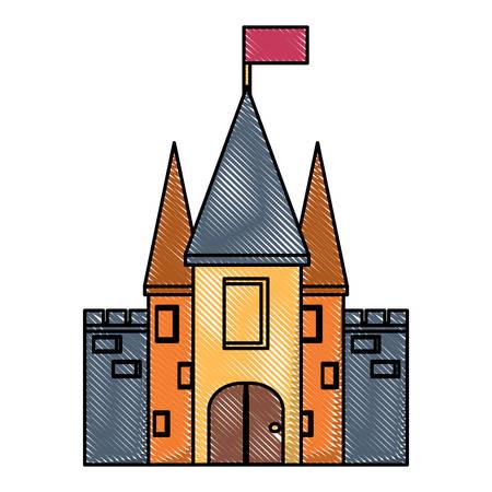 Medieval castle icon image illustration.