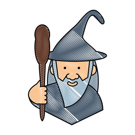 cartoon wizard holding a magic staff over white background, colorful design. vector illustration Vectores