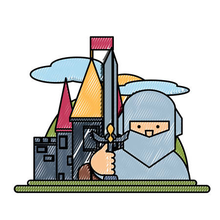 Medieval castle icon image illustration.