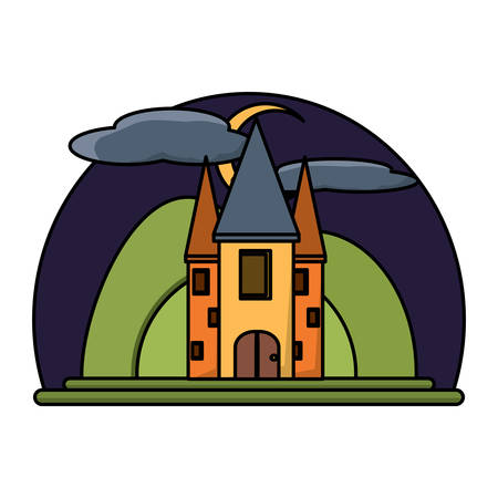 Night at Fairy Tale Castle Surrounded by mountains over white background, colorful design. vector illustration