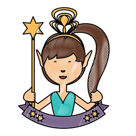 emblem with cartoon fairy girl and decorative ribbon  over white background, colorful design. vector illustration Illustration