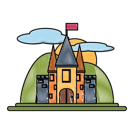Medieval Castle with a flag on the tower, Surrounded by mountains over white background, colorful design. vector illustration