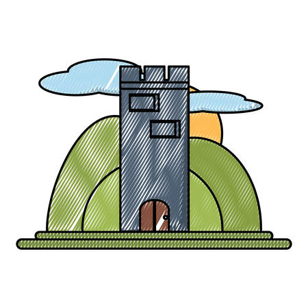 Medieval castle tower surrounded by nature  over white background, colorful design. vector illustration