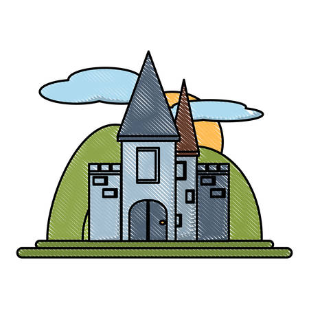 Medieval Castle Surrounded by mountains  icon over white background, colorful design. vector illustration