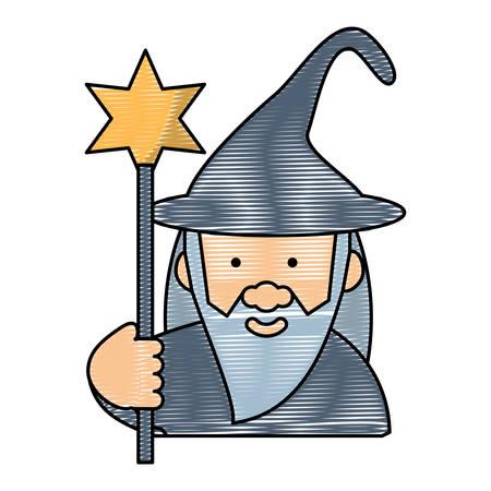cartoon wizard icon Illustration