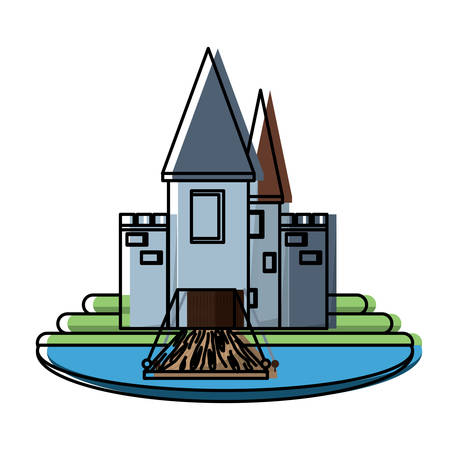 Medieval castle with towers and walls, surrounded by water over white background, colorful design. vector illustration
