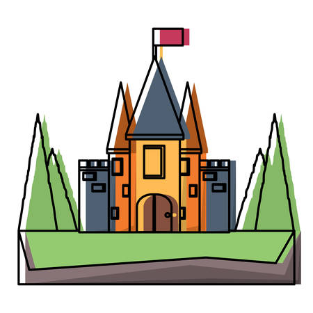 Fairy Tale Castle with pines at the entrance over white background, colorful design vector illustration Illustration