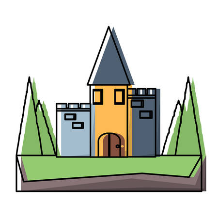 Fairy Tale Castle Surrounded by Nature icon over white background, colorful design vector illustration