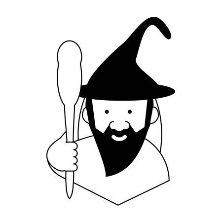cartoon wizard icon illustration.