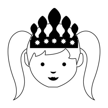 cartoon princess icon illustration.