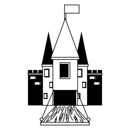 Medieval castle with drawbridge illustration. Illustration