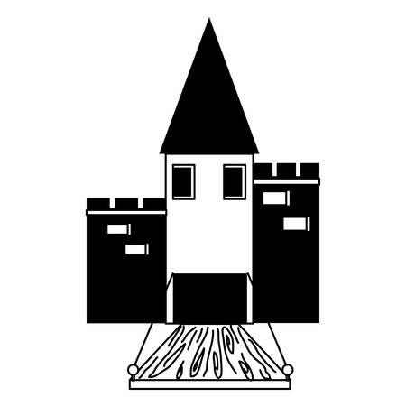 Medieval castle with drawbridge over white background vector illustration