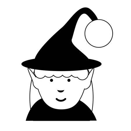 cartoon elf girl icon over white background vector illustration Illustration