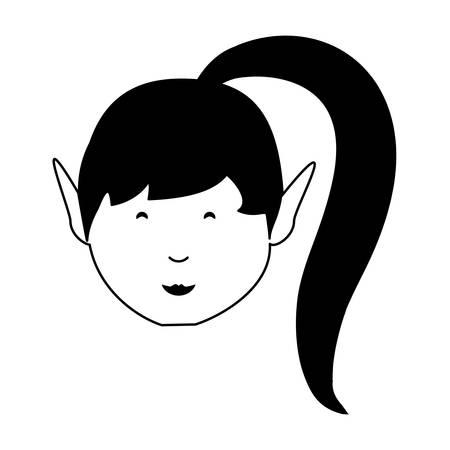 Cartoon Mädchen in Pferdeschwanz Schwanz über weißem Hintergrund Vektor-Illustration Standard-Bild - 94470386