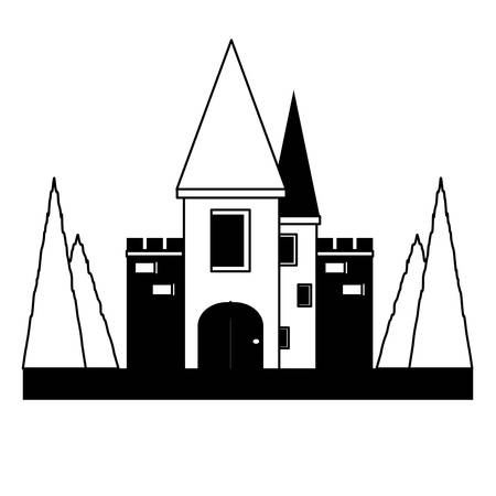 Fairy Tale Castle Surrounded by Nature icon over white background vector illustration