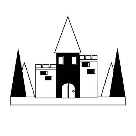 medieval Castle Surrounded by Nature icon over white background vector illustration Illustration