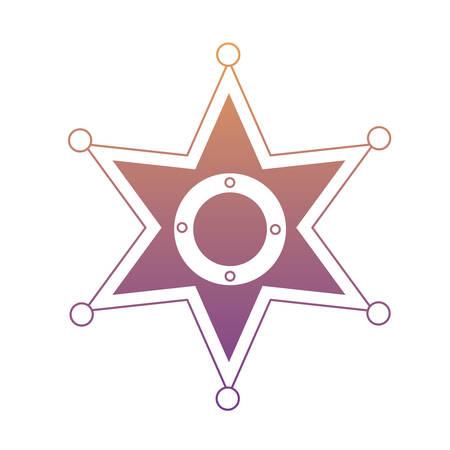 sheriff star icon over white background, monochrome design.  vector illustration