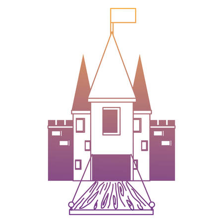 Medieval castle with flag on the tower and drawbridge over white background, monochrome design. vector illustration