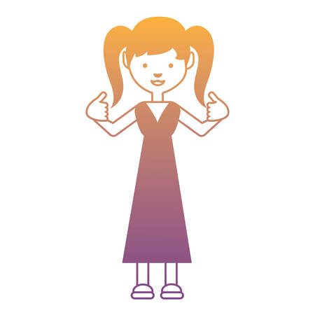 Cartoon girl wearing a dress and Giving Thumbs Up over white background, monochrome design.  イラスト・ベクター素材
