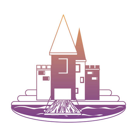 Medieval castle with towers and walls, surrounded by water over white background, monochrome design.  vector illustration Illustration