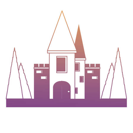 Fairy Tale Castle Surrounded by Nature icon over white background, monochrome design vector illustration