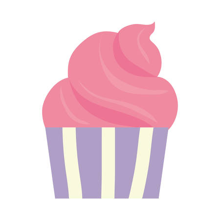 Pink cupcake over white background vector illustration.