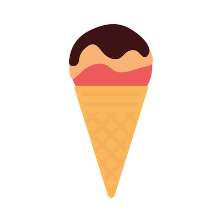 Chocolate and strawberry ice cream cone over white background vector illustration