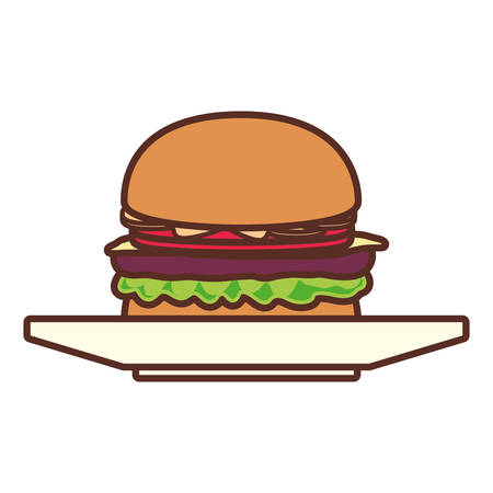 Burger on plate over white background vector illustration Vectores