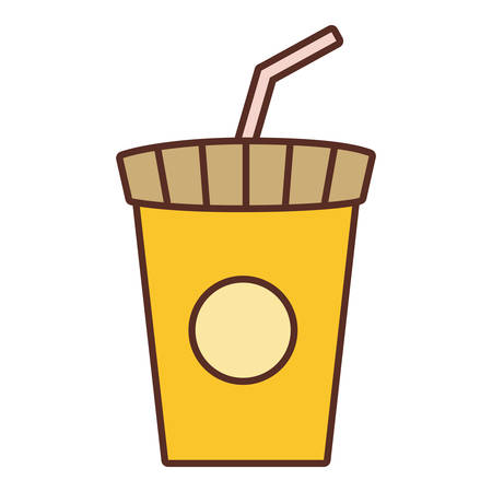 yellow soda cup with straw over white background vector illustration