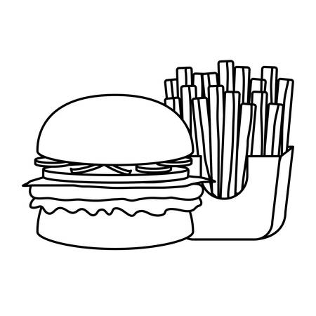 uncolored burger with fries over white background vector illustration