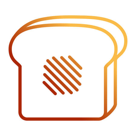 Flat line orange toast over white background vector illustration