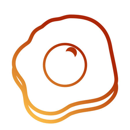 flat line orange fried egg over white background vector illustration Illustration