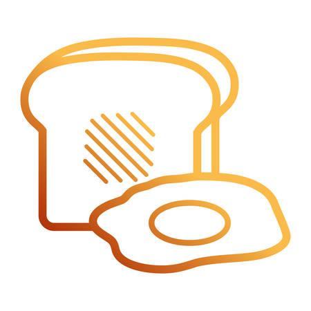 Flat line orange toast and fried egg over white background vector illustration