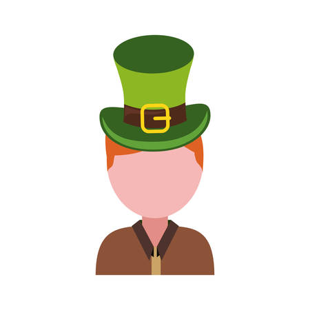 ginger man avatar wearing leprechaun hat over white background vector illustration