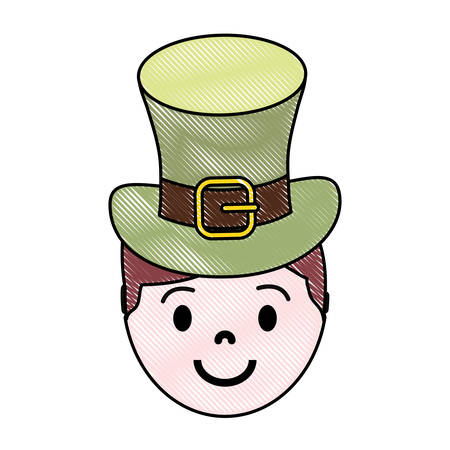 Brunette man wearing leprechaun hat colored doodle over white background vector illustration