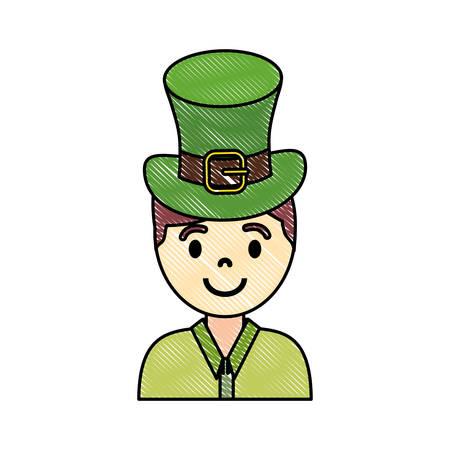 brunette man wearing leprechaun hat colored doodle  over white background vector illustration  イラスト・ベクター素材