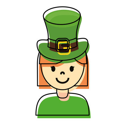 blonde woman wearing leprechaun hat over white background vector illustration