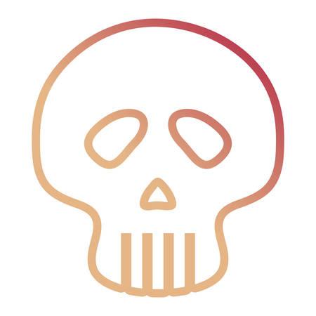 skull icon over white background, colorful line design. vector illustration Illustration