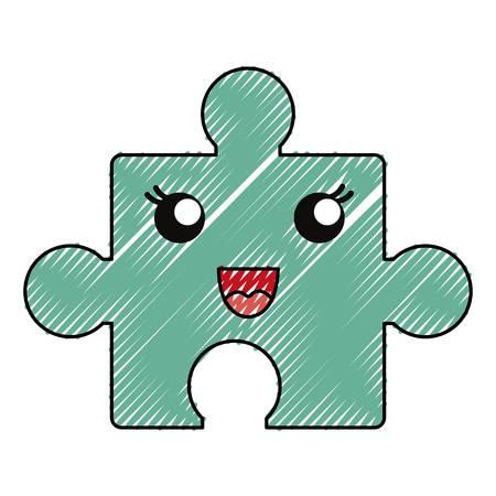 puzzle icon over white background, color crayon stripe design. vector illustration