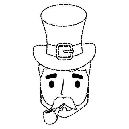 cartoon man with irish top hat over white background design vector illustration