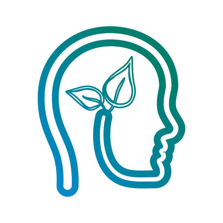 head with leaves icon over white background vector illustration