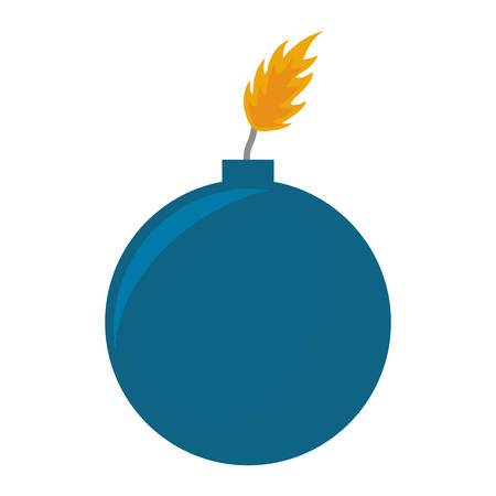 bomb icon about to explode with burning wick over white background vector illustration