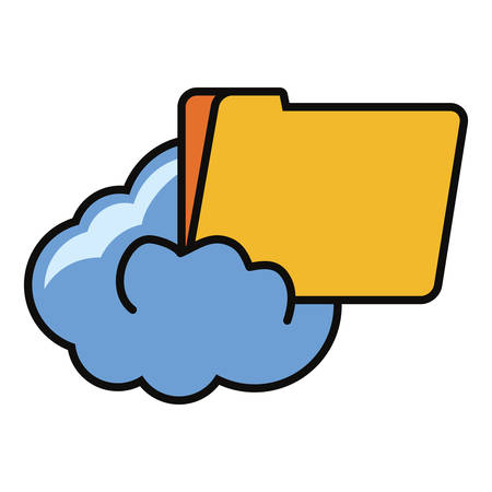 cloud storage and Documents folder icon over white background vector illustration