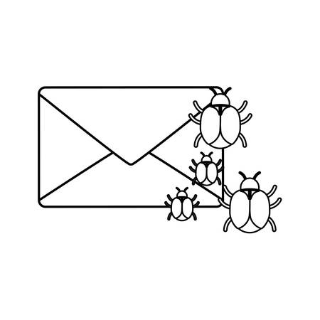 virus bugs and envelope icon over white background vector illustration