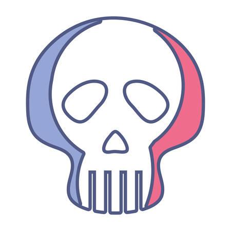 Skull icon over white background, vector illustration