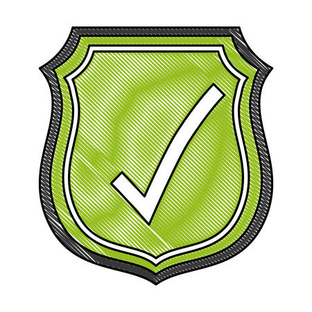 shield with check mark icon over white background vector illustration