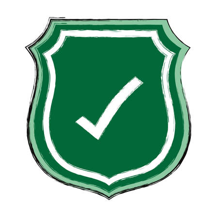 Shield with check mark icon over white background vector illustration.